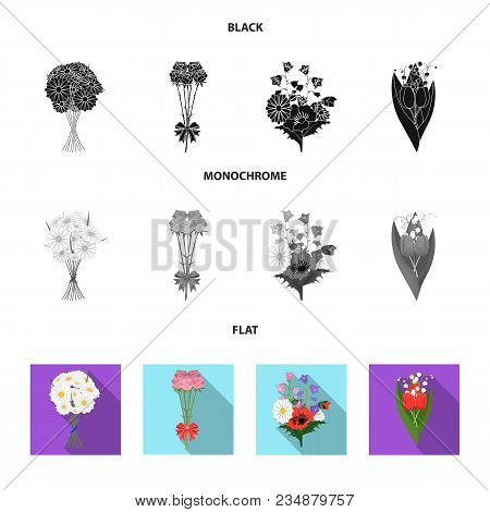 A Bouquet Of Fresh Flowers Black, Flat, Monochrome Icons In Set Collection For Design. Various Bouqu