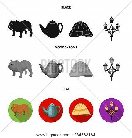 Breed Dog, Teapot, Brewer .england Country Set Collection Icons In Black, Flat, Monochrome Style Vec