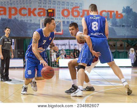 Samara, Russia - December 07: Bc Azovmash Guard Derrick Low #7 Dribbles The Ball After Screen During