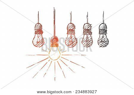 The Best Idea Concept. Hand Drawn Lamps, One Of Them Is Shining. Luminous Lamp The Symbol Of Idea Or