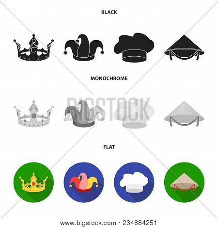 Crown, Jester Cap, Cook, Cone. Hats Set Collection Icons In Black, Flat, Monochrome Style Vector Sym
