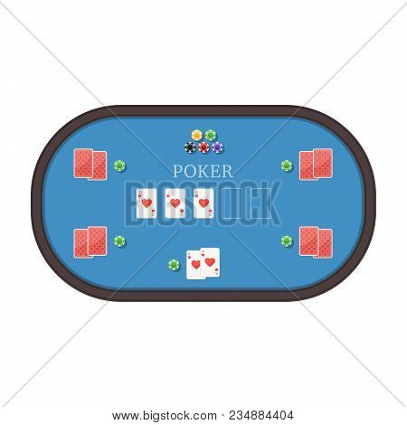 Poker Table With Cards And Chips. Royal Flush Hearts Combination. Gambling Games Concept. Vector Ill