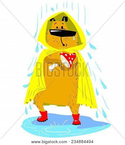 Fall Season Dog Character. Cute Pet Under The Rain With Raincoat And Boots And Mushroom. Vector Cart