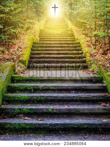 Steps Leading Up To The Sun.  Way To God .  Bright Light From Heaven .  Religious Background  . Sunl