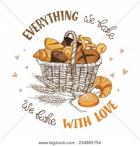 Bamboo Basket Full Of Bread And Buns Isolated On White Background. Hand Drawn Bakery Basket Vector I