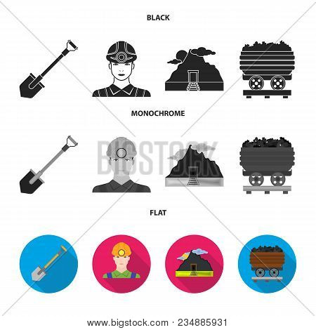 A Shovel, A Miner, An Entrance To A Mine, A Trolley With Coal.mine Set Collection Icons In Black, Fl