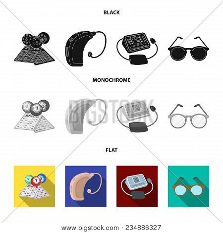 Lottery, Hearing Aid, Tonometer, Glasses.old Age Set Collection Icons In Black, Flat, Monochrome Sty
