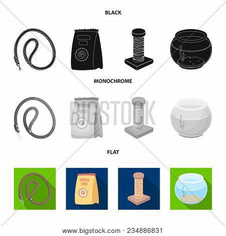 Leash, Feed And Other Zoo Store Products.pet Shop Set Collection Icons In Black, Flat, Monochrome St