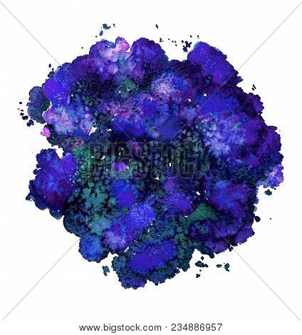 Abstract Watercolor Texture, Bionic Form, Dynamic Color Blue. Big Size. For The Background. Isolated