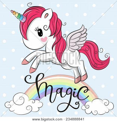 Cartoon Cartoon Unicorn Is Flying Under The Rainbow