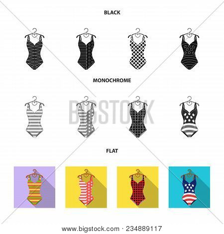 Different Kinds Of Swimsuits. Swimsuits Set Collection Icons In Black, Flat, Monochrome Style Vector