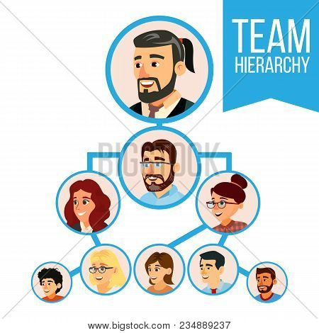 Colleagues Working Flow Chart Vector. Employee Avatars. Team Pyramid Structure. Management System. T