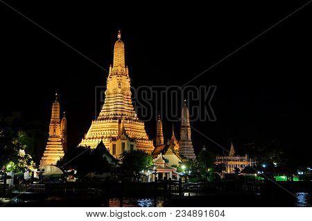 Wat Arun Temple View In Bangkok, Thailand At Night