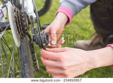 Mountain Biker Riding On Green Grass, Spring Bike Ride