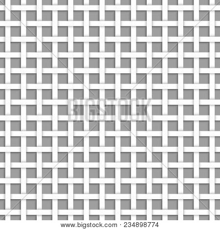 White Net Seamless Pattern Abstract Geometric Netting, Mesh Or Textile Vector Illustration