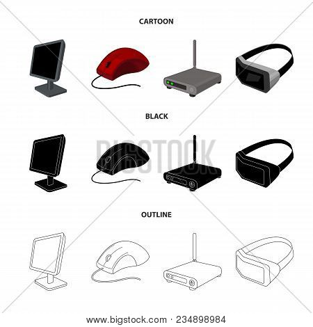 Monitor, Mouse And Other Equipment. Personal Computer Set Collection Icons In Cartoon, Black, Outlin