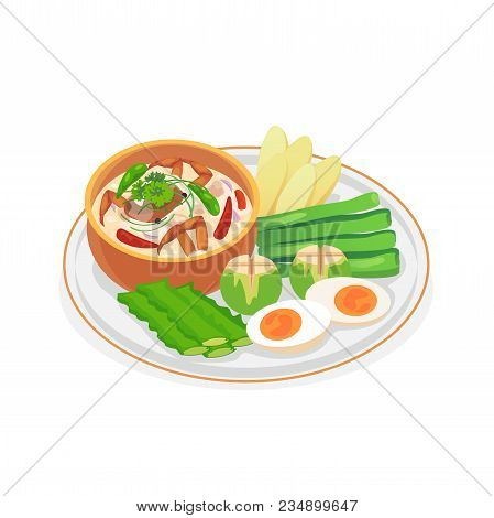 Crab Dip With Coconut Milk Served With Fresh Vegetables.