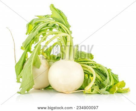 Two White Radish Bulbs With Fresh Leaves Isolated On White Background