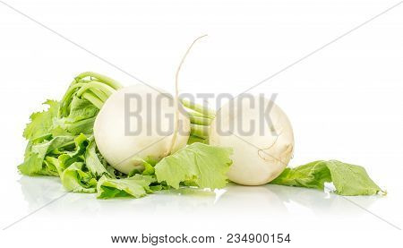 Two White Radish Bulbs With Green Leaves Isolated On White Background
