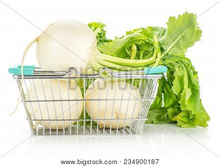 White Radish Bulbs With Fresh Leaves In A Shopping Basket Isolated On White Background