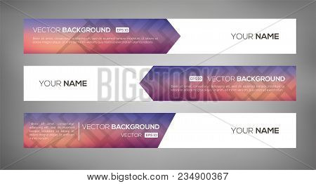 Abstract Banners Set. Gradient And Rhomb Texture. Vector