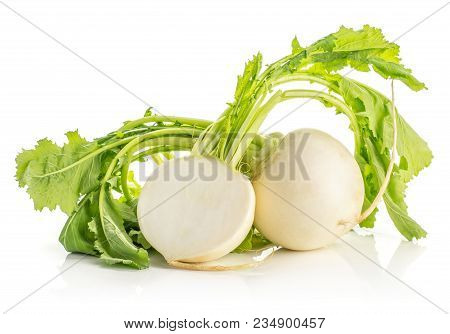 White Radish Bulb With Fresh Leaves And One Section Half Isolated On White Background