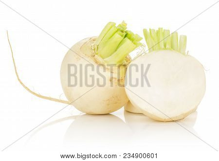 White Radish Bulb And One Half Isolated On White Background