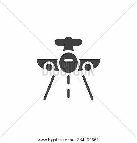 Flying Plane Vector Icon. Filled Flat Sign For Mobile Concept And Web Design. Aircraft And Landing S