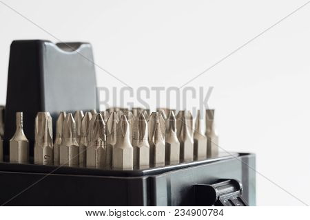 Metal Bits For Screwdriver. Tool Set For Household Use. Nozzles And Adapters For Screwdrivers. Head