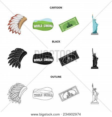 Mohavk, World Cinema, Dollar, A Statue Of Liberty.usa Country Set Collection Icons In Cartoon, Black