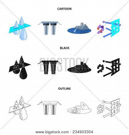 Filter, Filtration, Nature, Eco, Bio .water Filtration System Set Collection Icons In Cartoon, Black