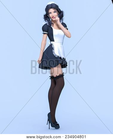 3d Beautiful Young Attractive Girl Maid In Black Dress, Stockings And White Apron. Woman In Uniform.