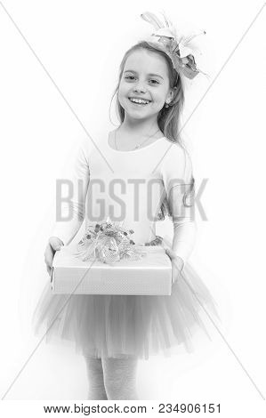 Holiday, Birthday, Anniversary Celebration. Child With Flower In Long Blond Hair Isolated On White.