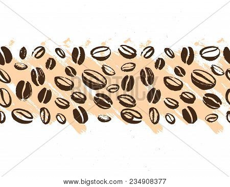 Vector Seamless Coffee Backdrop Design With Hand Drawn Coffee Beans Isolated On White Background. In