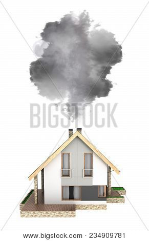 Ecology Concept Illustration Of Pollution By Exhaust Gases Modern House Producing A Lot Of Smoke Iso