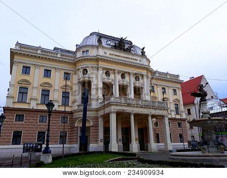 Bratislava, Slovakia - 15 December 2017: The Slovak National Theater, A Neo-renaissance Theater Buil