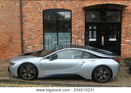 Leeds, Uk - July 11, 2016: Bmw I8 Luxury Sports Car Parked In Leeds, Yorkshire, Uk. There Were 30.9