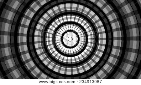 Background With Concentric Rings Moving. Animation Of Radio Wave, Radar Or Sonar. Hypnotic Graphic E