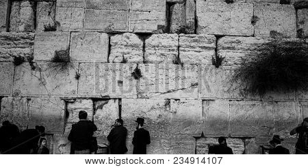Western Wall, Jerusalem, Israel, 03.04.2015: Is Also Called The Wailing Wall Or Wall Of Weeping. It
