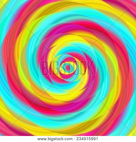 Colorful Ellipse Fractal Spiral Design Background - Vector Illustration