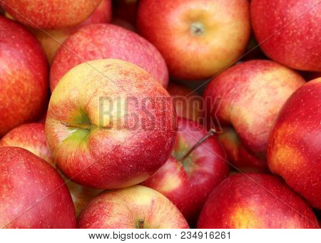 Background Of Red Ripe Apples For Sale From Greengrocers