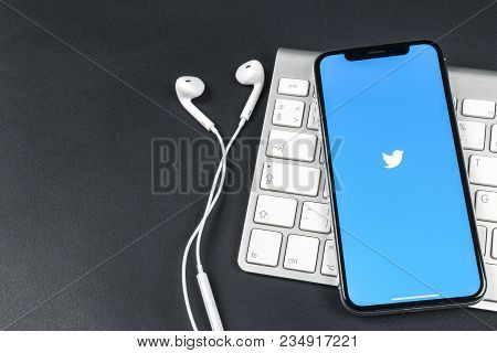 Sankt-petersburg, Russia, April 6, 2018: Twitter Application Icon On Apple Iphone X Smartphone Scree