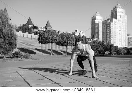Athlete On Asphalt Path On Sunny Summer Day Outdoors. Fit Macho In Track Suit And Running Shoes On U
