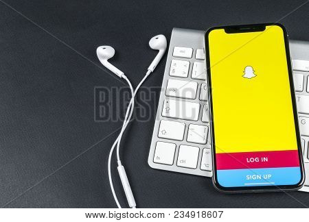 Sankt-petersburg, Russia, April 6, 2018: Snapchat Application Icon On Apple Iphone X Smartphone Scre