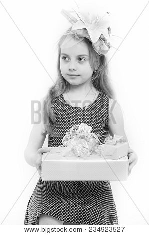Boxing Day Concept. Child Hold Gift Box Isolated On White. Birthday, Anniversary Celebration. Holida