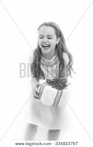 Girl With Long Blond Hair Laugh Isolated On White. Child Hold Box With Red Bow. Birthday, Anniversar