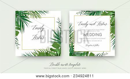 Wedding Floral Double Invite Card Design With Vector Watercolor Style Tropical Fan Palm Tree Green L