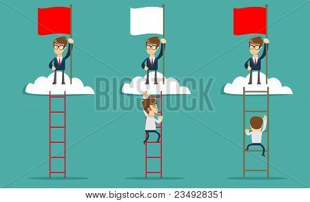 Man Standing While Holding The Career Ladder To Get The Flag In The Clouds. Career, Success Concept.