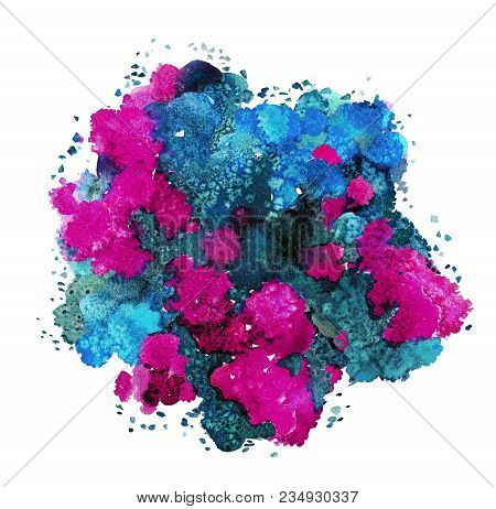 Abstract Watercolor Texture, Bionic Form, Dynamic Color Blue,  Red, Purple And Green. Big Size. For