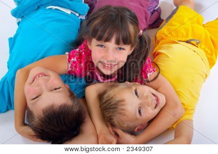 Girl Hugging Two Happy Friends